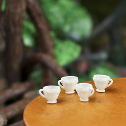 Miniature Plastic Tea Cups - Kitchen Miniatures - Dollhouse Miniatures - Doll Making Supplies - Craft Supplies