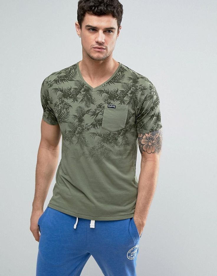Tokyo Laundry Tropical Print Fade Out V Neck T-Shirt - Green