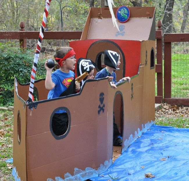 Pirate ship and styrofoam cannonballs at a pirate party - so fun!
