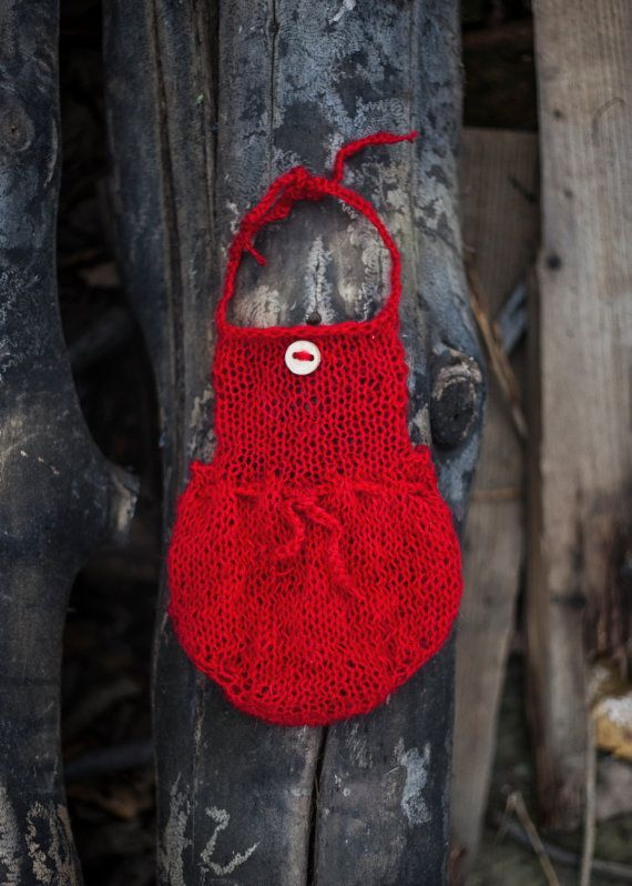 Sweet Red Romper Red bloomers Mohair Knit by GabriCollection