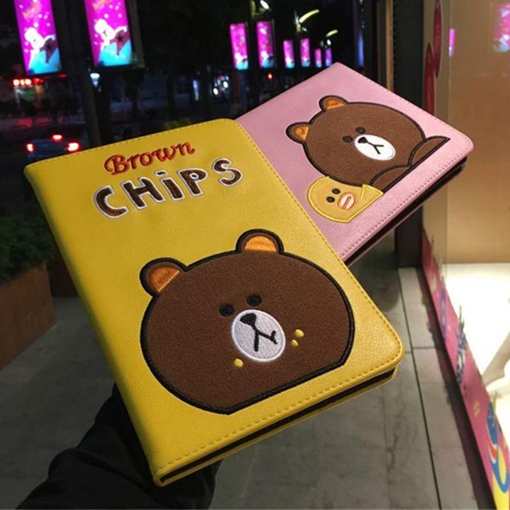 萌え萌えのline friends ipad pro ケース 9 7 可愛いブラウンの顔付き 鮮やかな配色 韓国では人気なipad カバー ipad air2 ケース ipad カバー ケース