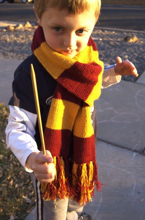 Free pattern to knit a Harry Potter Gryffindor scarf.  Roar roar Gryffindor!