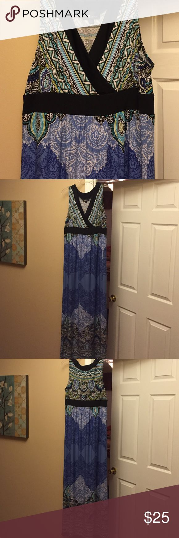 Purple and blue maxi dress, very pretty! Purple and blue maxi dress, very pretty! Small hints of lime green and robins egg blue. Very bottom of dress has slight pulls due to being long, dragging on floors etc AB Studio Dresses Maxi