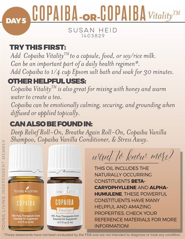 """Today I am sharing with you an essential oil that most of you may not have heard of – Copaiba(pronounced """"Ko-pah-ee-bah""""). It is a powerful essential oil from South America that has traditionally been used to support the body's natural response to injury or irritation. I began using Copaiba almost a year ago when …"""