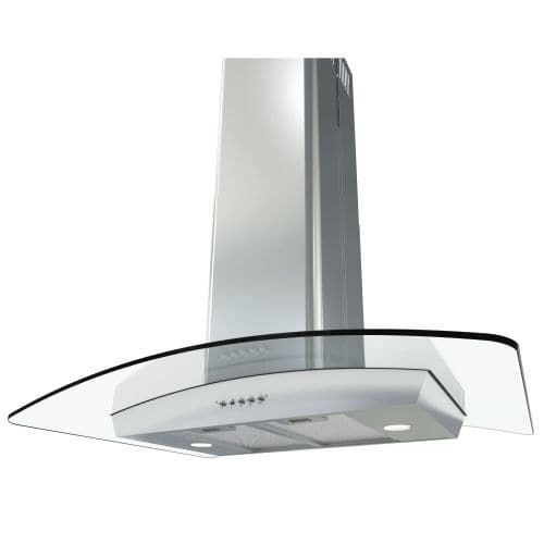 Miseno MH00436G 750 CFM 36 Inch Stainless Steel (Silver) Island Range Hood with Dual Halogen Lighting System and Glass Accent
