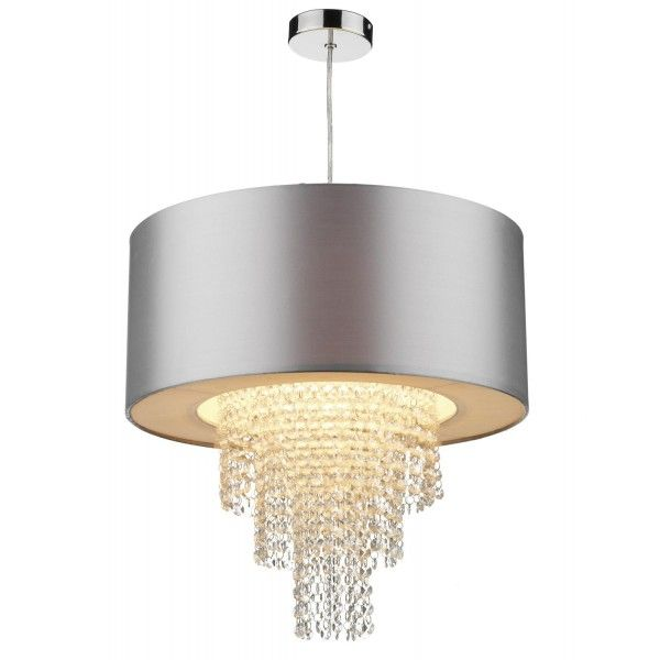 Dar lighting lopez non electric ceiling fitting with silver faux silk shade diameter