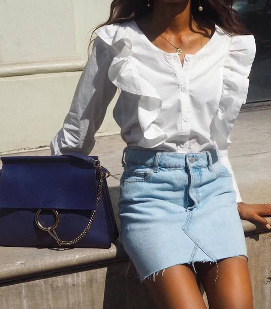 The Perfect Summer Outfit That Mixes Chic With Simple Long Sleeved Ruffled Detail Button Up Blouse Teamed With $29 Topshop Light Blue High Waisted Denim Mini Skirt And Dark Navy Blue Handbag Tumblr