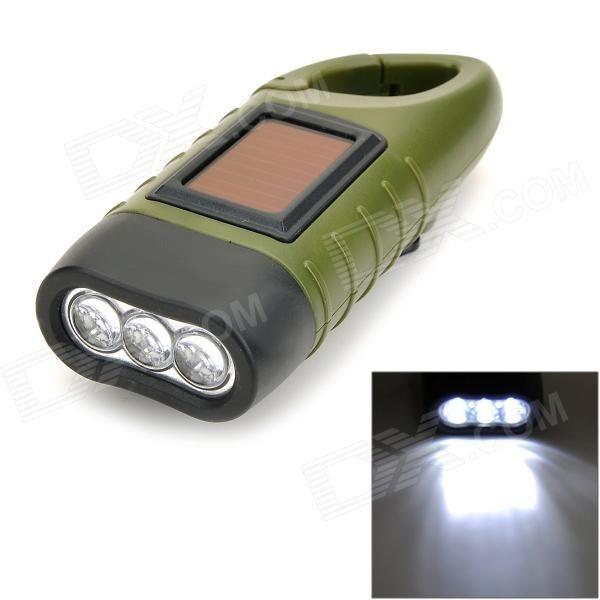 Solar Hand Cranked 6lm 3-LED White Flashlight w/ Buckle - Army Green
