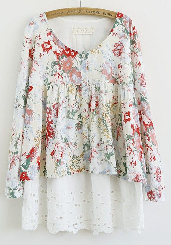 Lace eyelet and shabby chic floral dress.