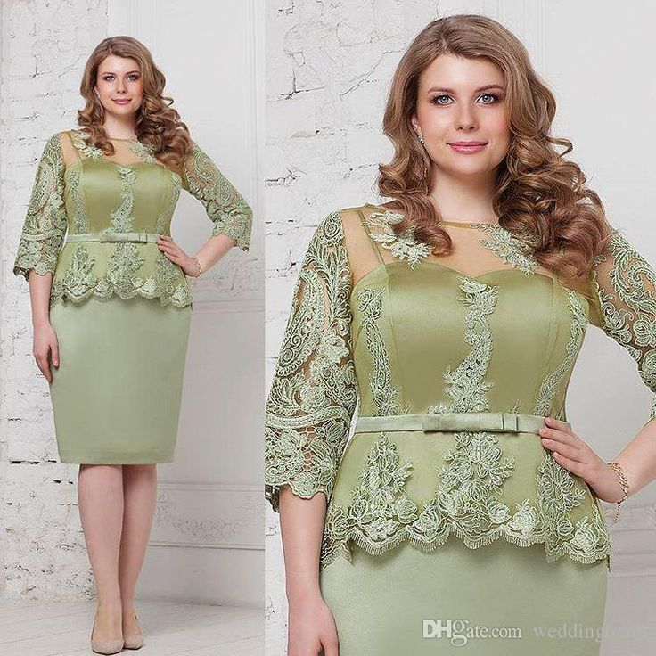 Fashion Sage Plus Size Peplum Prom Dresses Sheer Bateau Neck Lace Evening Gowns Sleeves Sheath Knee Length Satin Formal Dress