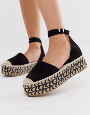 1225a26f35a1 PrettyLittleThing flatform espadrille with ankle buckle detail in black