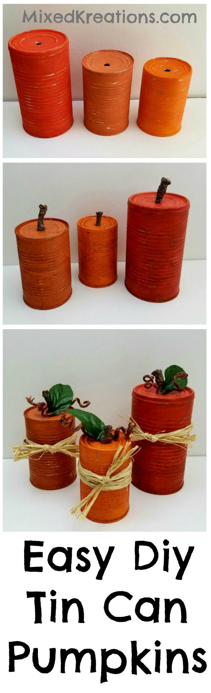 These easy diy tin can pumpkins would look cute in a fall centerpiece, or mixed in with other Fall decor. Click over to see how I made them.