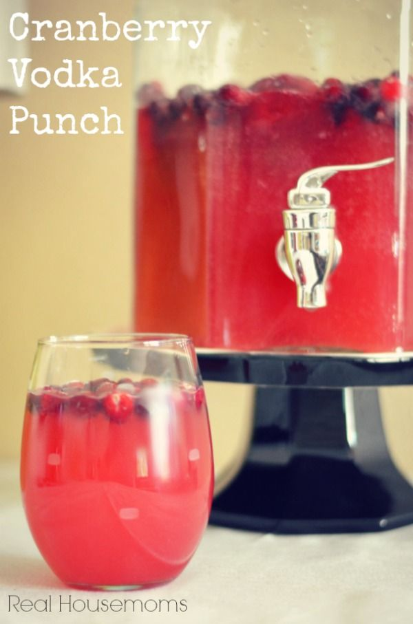 Cranberry Vodka Punch--This punch is perfect for your Holiday parties this year and has a bright flavor that will make your guests happy.