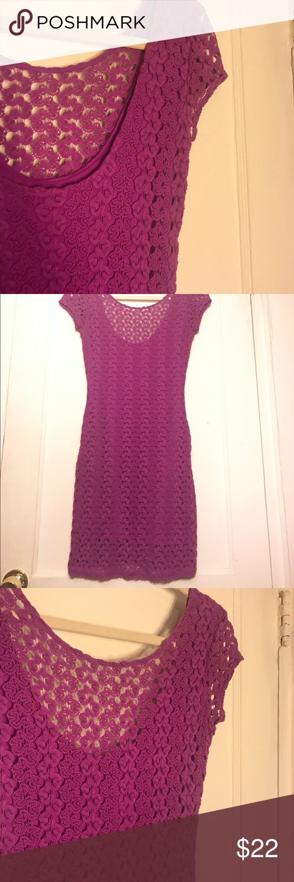 Gorgeous free people purple crochet mini dress Gorgeous crochet dress, in great condition. Two small holes on the inside layer by the front shoulder, if you wear a purple tank under then it's not noticeable or if it's positioned right. Super flattering, great for spring or summer! Free People Dresses Mini