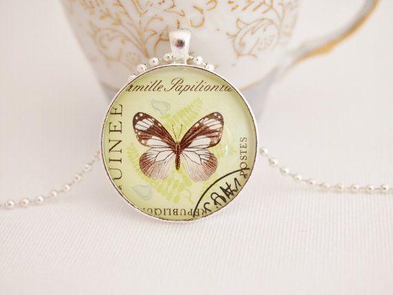 butterfly necklace vintage postage stamp necklace butterfly