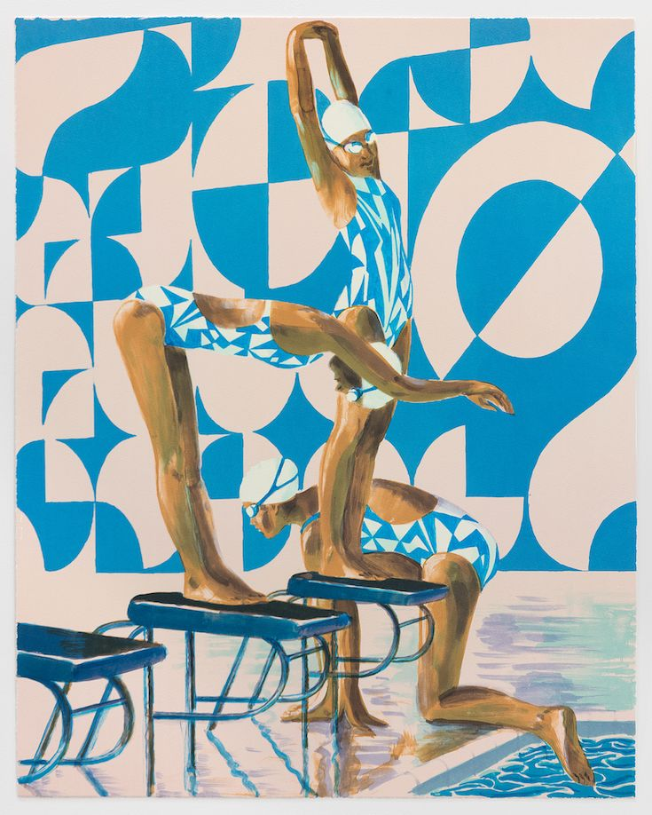 Benjamin Senior, Stroke Tempo (2016): an official limited edition artwork for Team GB at the Rio 2016 Olympics. Available now from countereditions.com.  #contemporaryart #limitededition #benjaminsenior #swimming #diving #lithography #editions #Rio2016 #TeamGB #olympics #countereditions