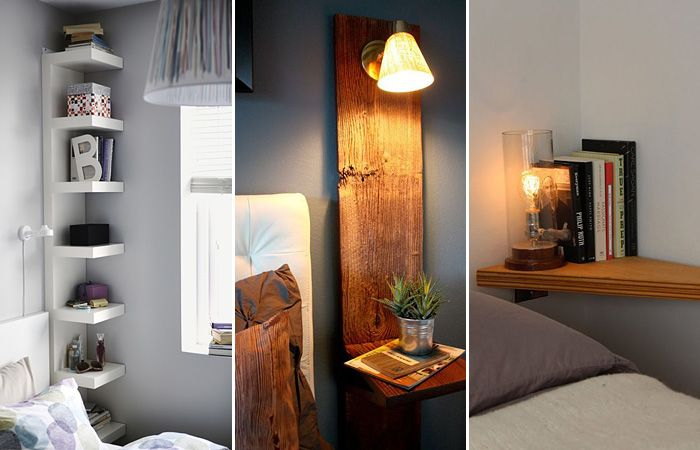 13 miniature bedside tables and shelves that are ideal for small bedrooms. More: http://wonderdump.com/13-miniature-bedside-tables-and-shelves-that-are-ideal-for-small-bedrooms/