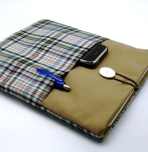 SALE iPad Air case, iPad cover, iPad sleeve/ Samsung Galaxy Tab 3 10.1 with 2 pockets, PADDED - Check (A)