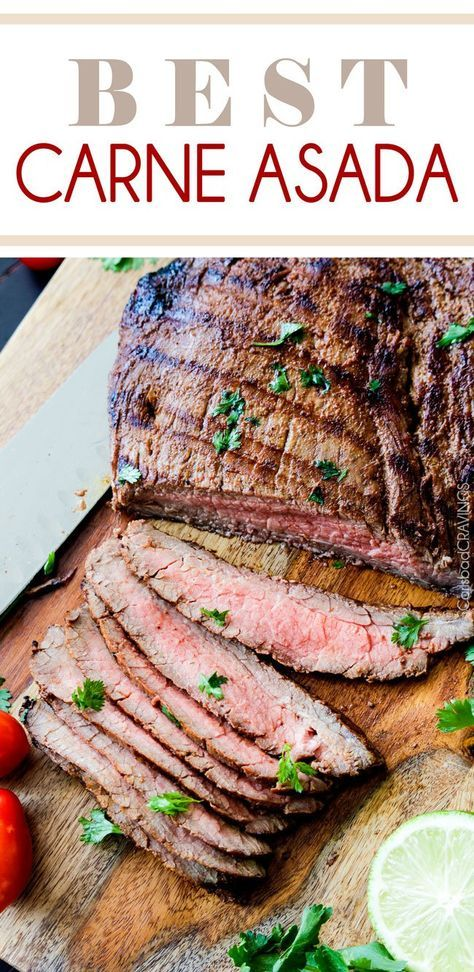 Grilled Carne Asada marinated and spice rubbed for the most juicy, tender, flavorful Carne Asada EVER! Restaurant quality carne asada perfect for tacos, burritos, nachos, salads, etc. at a fraction of the price and fabulous for crowds! #carneasada #grill #Mexican