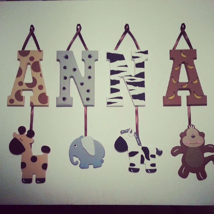 4 letter name individually hanging block letters with for Baby nursery letters