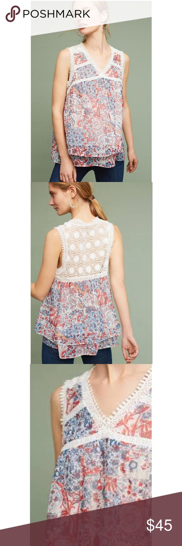 NWT ANTHROPOLOGIE Maeve Santana Lace-Trimmed Top Brand new with tags NWT ANTHROPOLOGIE Maeve Santana Lace-Trimmed Top. The name Maeve references a purple flower, a Greek goddess and a famously beautiful Irish warrior queen. This Anthropologie Maeve top is both feminine and playful, a representation of beauty and strength at once. Size Large/L Color Red Motif Polyester Lace trim detailing Pullover styling Hand wash Photo credit to Anthropologie Anthropologie Tops