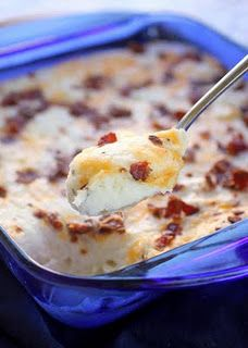 Loaded mashed potato casserole.  Easy for a pot luck.