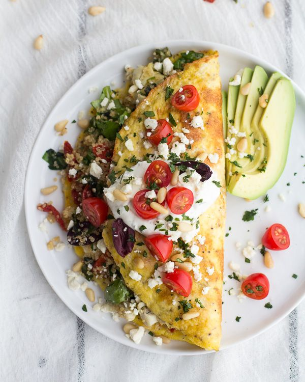 Mad Greek Quinoa Dinner Omelets with Feta and Tzatziki | Half Baked Harvest