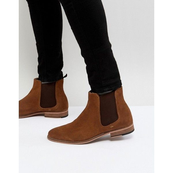 Walk London Harrington Suede Chelsea Boots in Tan ($103) ❤ liked on Polyvore featuring men's fashion, men's shoes, men's boots, tan, mens suede chelsea boots, mens tan brogue boots, mens derby shoes, mens round toe cowboy boots and mens suede boots