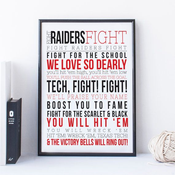 Texas Tech Fight Song Raiders Typography by SnowAndCompany