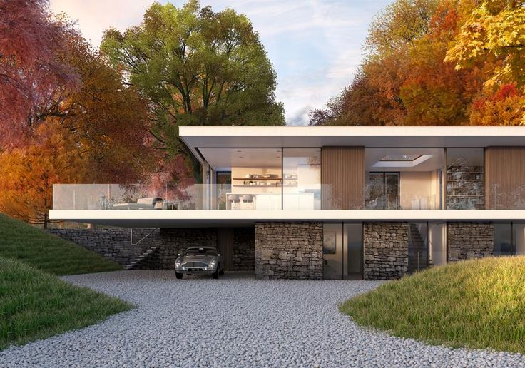Modern take on the family home in the countryside by our talented team or architects and designers. Stone gabon walls ground the home while the first floor cantilevers to create a sheltered entrance and car port.