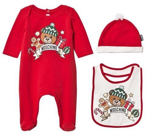 Moschino Kid-Teen Red Christmas Bear Print Babygrow, Hat and Bib Gift Box