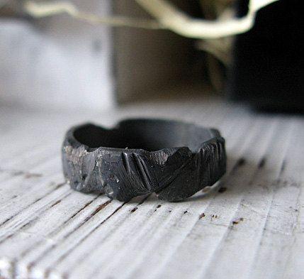 Hochzeitsband Mens schwarz oxidiert Sterling von R…