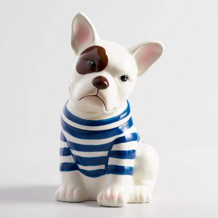 "Featuring a spotted eye and Breton stripes, our exclusive French bulldog cookie jar is a great ""guard dog"" for baked treats and makes an adorable gift for dog lovers and Francophiles. www.worldmarket #WorldMarket Home Decor"