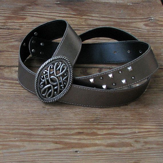 Vintage Belt Vintage Rocker belt Brown Belt Silver by DamovFashion, zł66.00