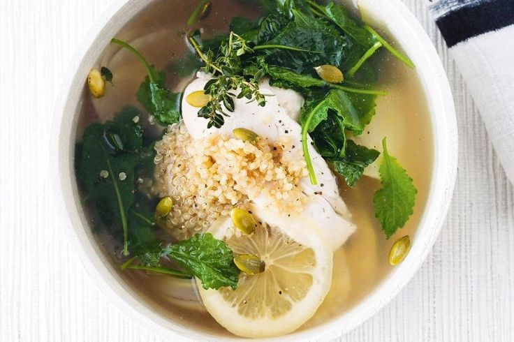 It would be hard to create a bowl more healthy and soothing than this quinoa, kale and preserved lemon infused chicken soup.