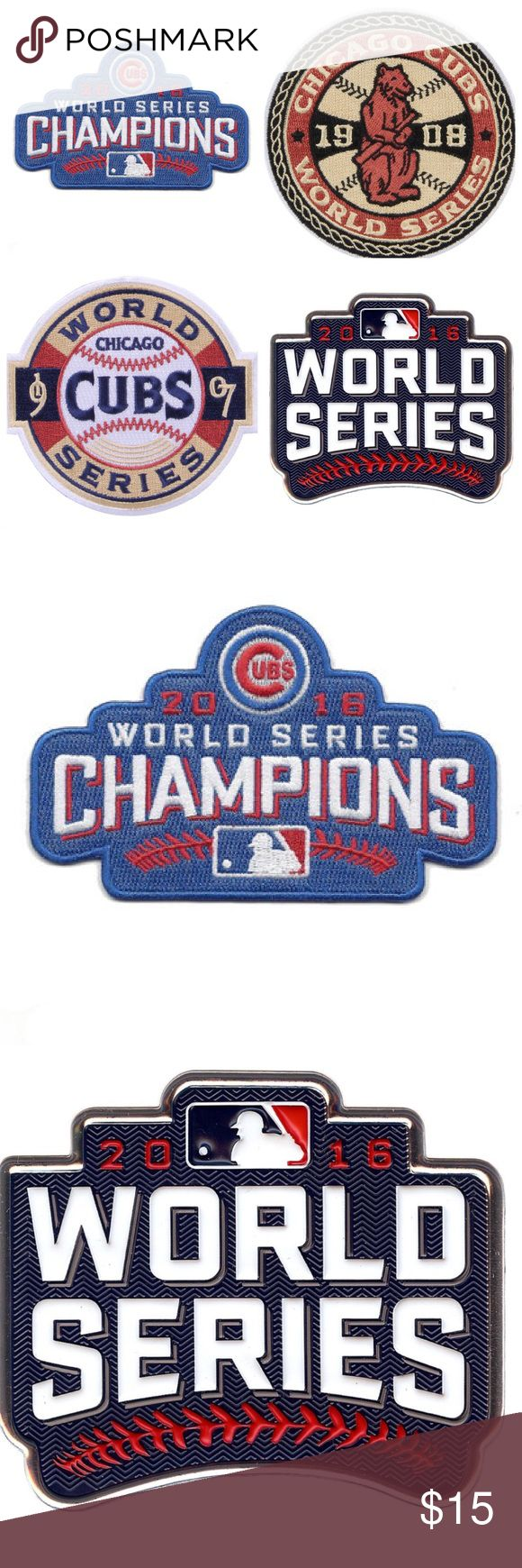 Chicago Cubs World Series Patch Collection (4) Looking for that awesome, inexpensive Christmas gift? Grab this Chicago Cubs World Series Patch Collection for that Diehard Cubbies fan in your life! This set includes the 2016 World Series patch, the 2016 World Series Champions patch,the 1907 World Series and the 1908 World Series patches. A unique set to add to your collection at a great price. These retail from $10-$20 EACH. Grab them all for $15 shipped. Please check my listings for more…