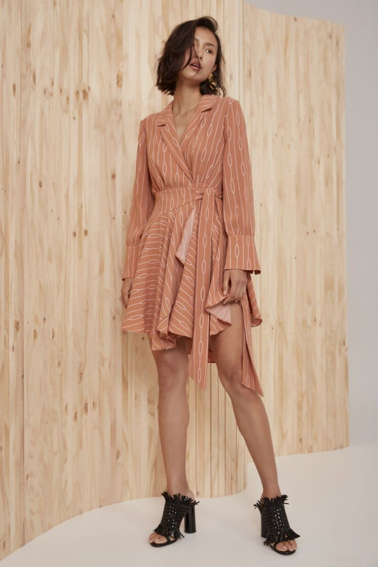 C/MEO COLLECTIVE EVERLASTING LONG SLEEVE DRESS biscuit chain print