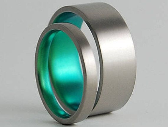 Wedding Bands , Titanium Rings , Titanium Wedding Band Set , Titanium Wedding Ring Set , Aphrodite and Apollo Bands **PRICE INCLUDES BOTH BANDS** Contemporary , plain and simple..... Color Shown in Picture: Immortal Green Width in Picture: 2.5mm and 8mm Finish in Picture: Satin