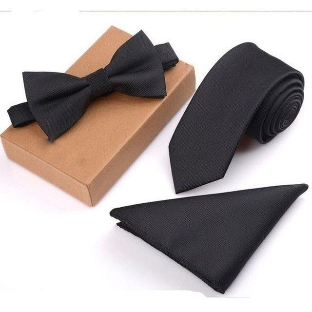 Suit Necktie & Pocket Square & Bow Tie Set. Can't find pocket square match with your tie? Why don't you buy them all together? Buy a cheap bow tie & necktie & hankerchief set and forget it. A gift for boyfriend, husband or father... Any men in your life. With its gift box... A must have set for every men. Be a different you in every wedding. Has 17 different color and pattern combinations. Size: One SizeMaterial: PolyesterNecktie size: 145*6*3.8cmBow tie size: 11.5*6cmPocket...