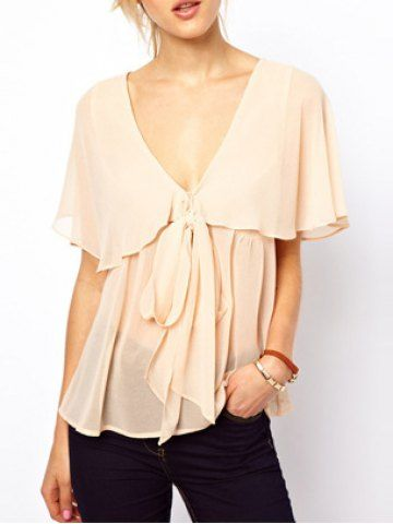 Fashionable Plunging Neck Bowtie Embellished Short Sleeves Loose-Fitting Chiffon Blouse For Women