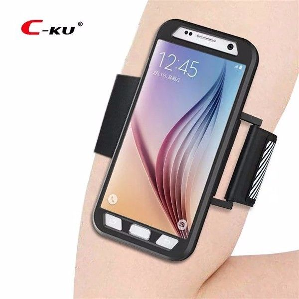 C-KU Armband Arm Bag Sweatproof Shockproof Sports Cover Protective Case for Samsung Galaxy S7