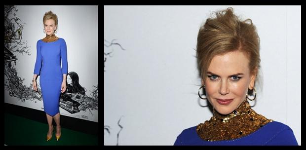Jewels for stars! Nicole Kidman wears Stroili gold earrings in London Fashion Week's L'wren Scott fashion show