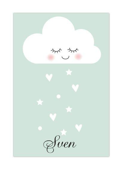 Schattig geboortekaartje met wolkje en hartjes regen. Zo lief in mintgroen! #wolkje #geboortekaartje