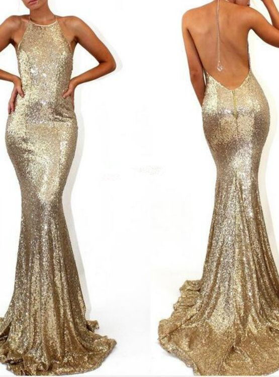 Cheap prom dresses 2017 Sleeveless Halter Cheap Formal Dress Mermaid Sweep-Train Stunning