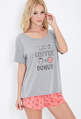 Coffee & Donuts PJ Set   FOREVER21 - 2049258638//size small
