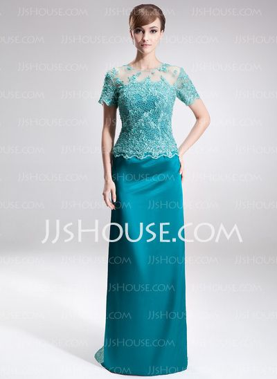 Mother of the Bride Dresses - $162.99 - Sheath Scoop Neck Sweep Train Tulle Charmeuse Mother of the Bride Dress With Lace Beading (008005926) http://jjshouse.com/Sheath-Scoop-Neck-Sweep-Train-Tulle-Charmeuse-Mother-Of-The-Bride-Dress-With-Lace-Beading-008005926-g5926