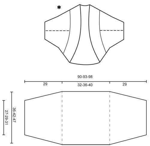 Bolero de punto DROPS con patrón de calados en BabyAlpaca Silk. Talla S-XXXL.