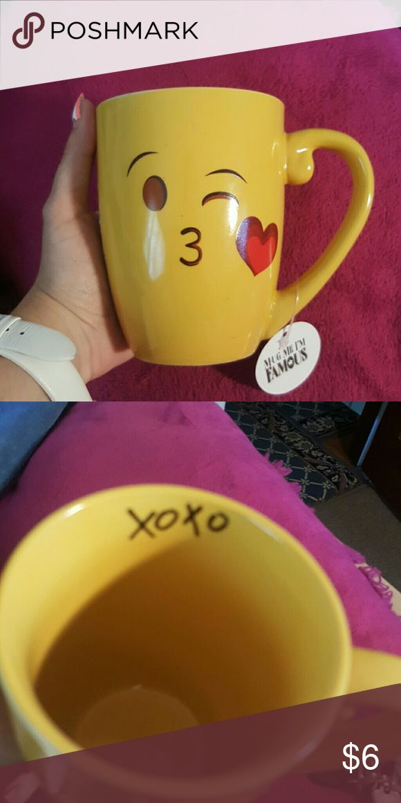 Cute Emoji Mug!!! Cutest emoji ever, the kissy emoji!!! Never used. New with tags!!! Great gift for yourself or the kids!!! Mug Me I'm Famous Other