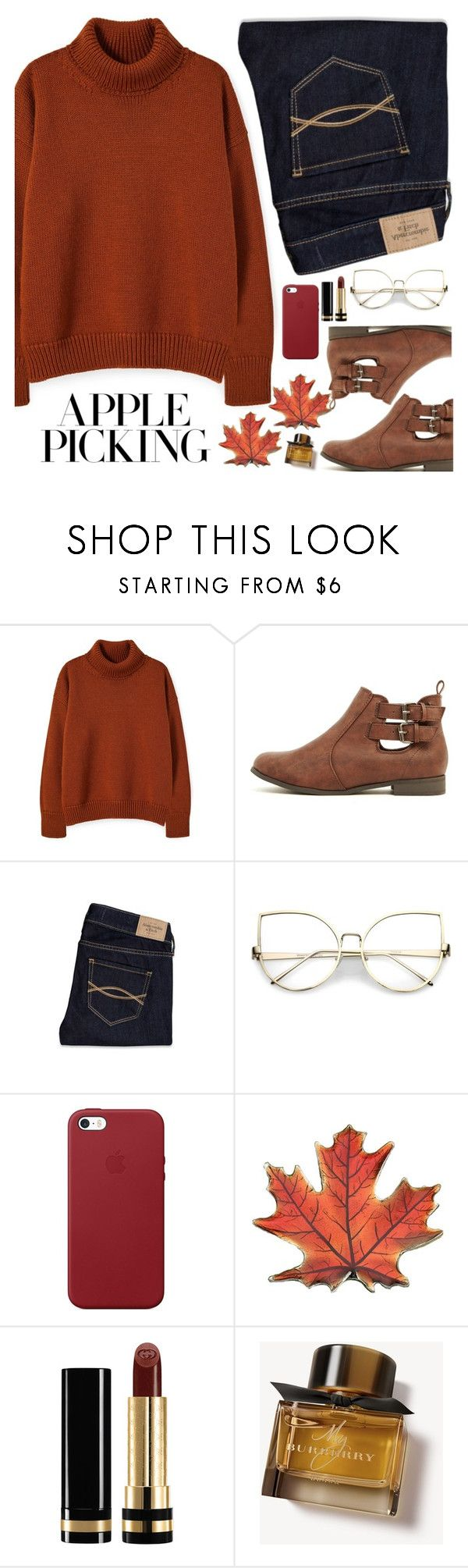 """Apple Picking"" by neon-moom ❤ liked on Polyvore featuring Abercrombie & Fitch, Apple, Gucci, Burberry, Fall, Sweater, booties and applepicking"