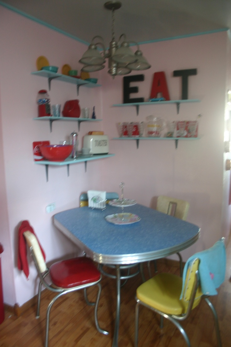 My kitchen is my happy place bubblegum pink walls for Cute kitchen tables
